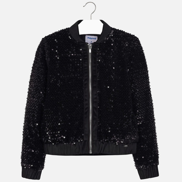 JUNIOR GIRLS SEQUIN JACKET - BLACK