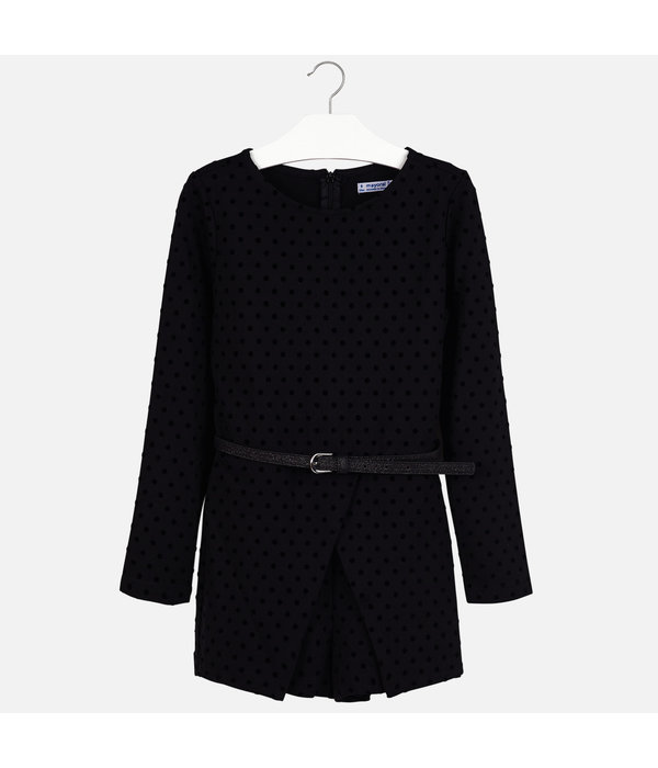 MAYORAL JUNIOR GIRLS POLKA DOT ROMPER - BLACK
