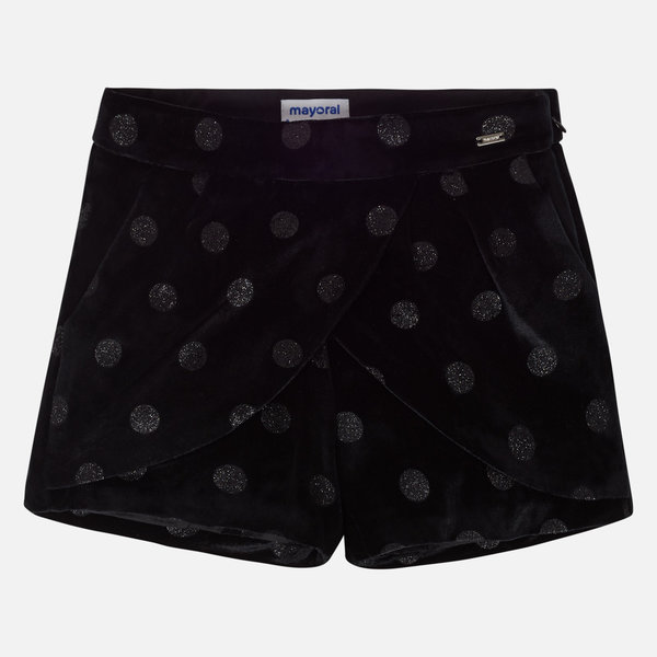 JUNIOR GIRLS VELVET SKORT - BLACK