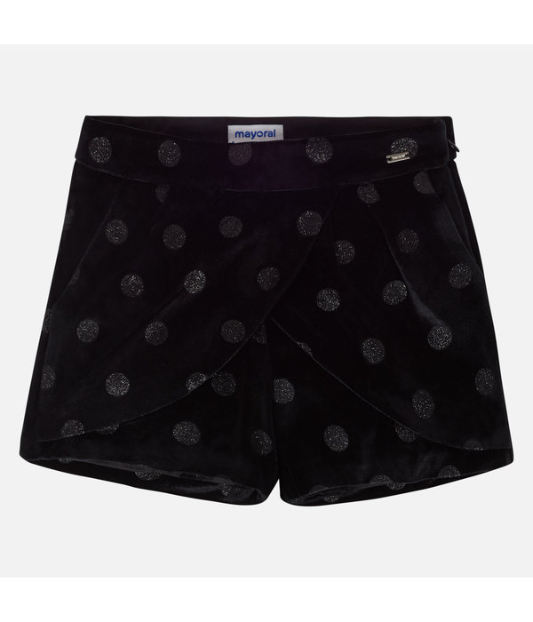 MAYORAL JUNIOR GIRLS VELVET SKORT - BLACK