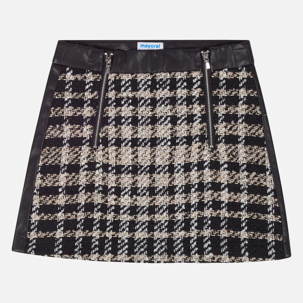 JUNIOR GIRLS CHECKERED SKIRT - BLACK