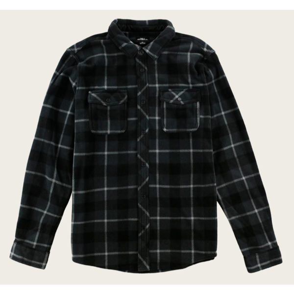 JUNIOR BOYS GLACIER PLAID SHIRT - ASPHALT