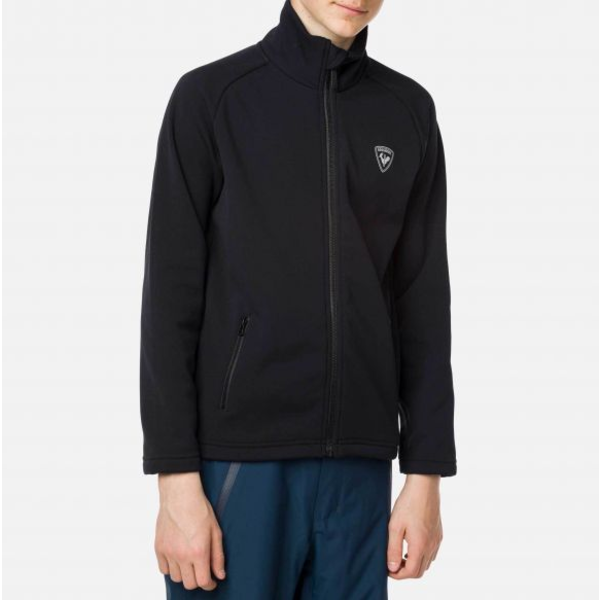 JUNIOR BOYS FULL ZIP CLIM SOFTSHELL JACKET - BLACK - SIZE 8 ONLY