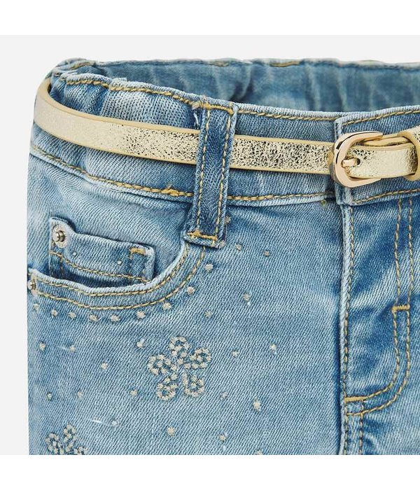 MAYORAL INFANT GIRLS DENIM SHORTS - BLEACHED - SIZE 18 MONTHS ONLY
