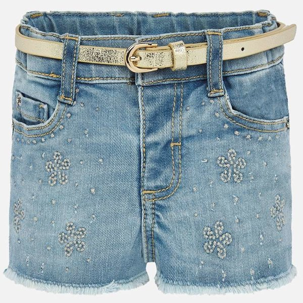 INFANT GIRLS DENIM SHORTS - BLEACHED - SIZE 18 MONTHS ONLY