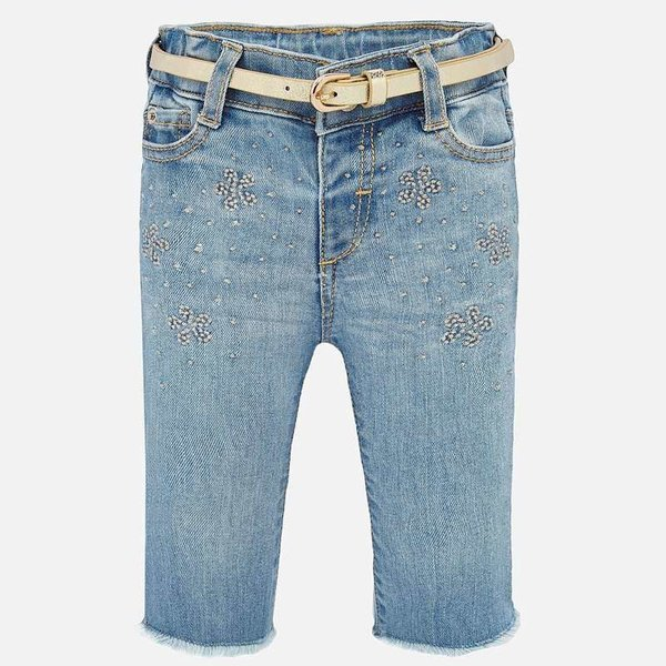 INFANT GIRLS DENIM PANTS - BLEACHED - SIZE 6 MONTHS ONLY