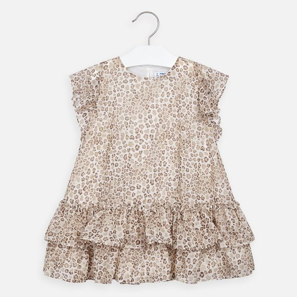 PRESCHOOL GIRLS RUFFLED DRESS - BEIGE