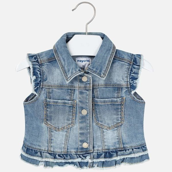 PRESCHOOL GIRLS DENIM VEST - BLEACHED