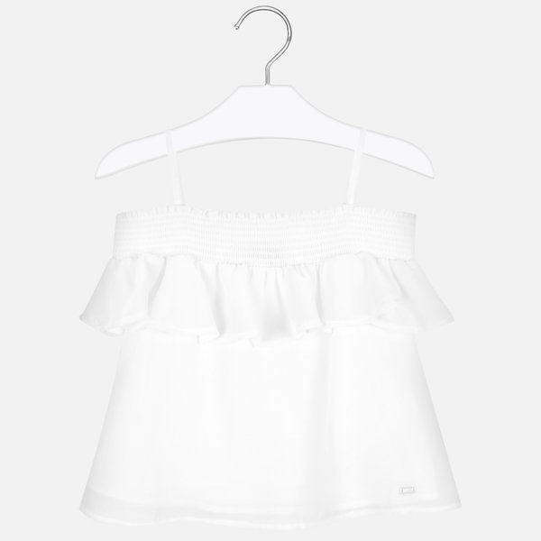 JUNIOR GIRLS RUFFLED BLOUSE - WHITE - SIZE 14 ONLY