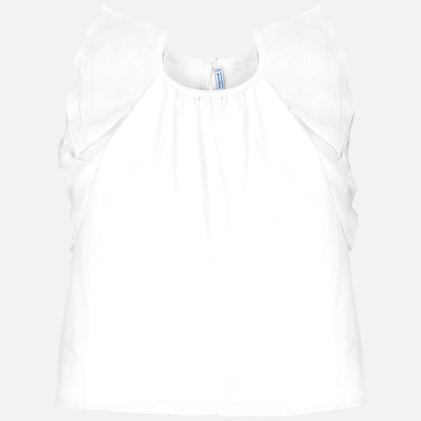 JUNIOR GIRLS SHORTR SLEEVED CREPE SHIRT - WHITE