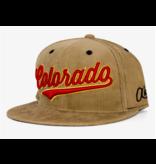 AKSELS ADULT CURSIVE COLORADO CORDUROY SNAPBACK HAT-KHAKI