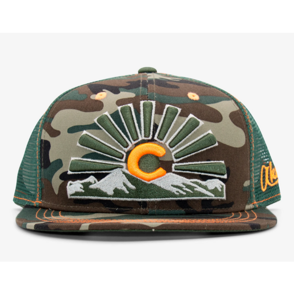 ADULT COLORADO SUNSET TRUCKER HAT - CAMO