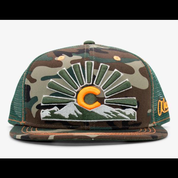 ADULT COLORADO SUNSET TRUCKER HAT - CAMO