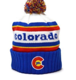 YOCO ADULT YO RETRO COLORADO POM BEANIE - BLUE/RED