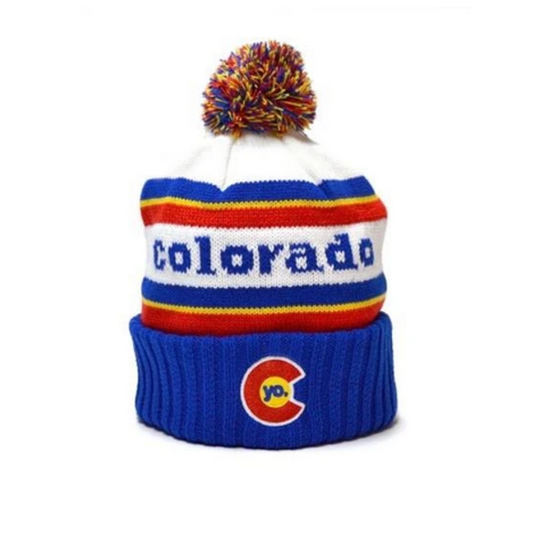 ADULT YO RETRO COLORADO POM BEANIE - BLUE/RED