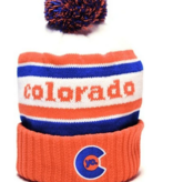 YOCO ADULT YO RETRO COLORADO POM BEANIE - ORANGE