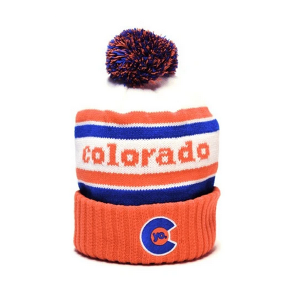 ADULT YO RETRO COLORADO POM BEANIE - ORANGE
