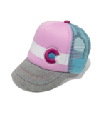 YOCO BABY LIL NUGGET BABY KIDS TRUCKER HAT - PINK/GREY - SIZE NB-6M