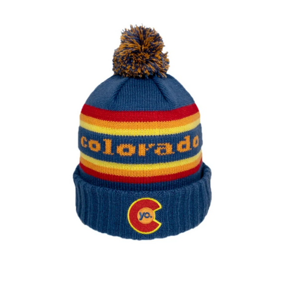 ADULT YO RETRO FLYER POM BEANIE