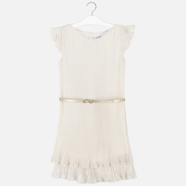 MAYORAL JUNIOR GIRLS PLEATED DRESS - CHAMPAGNE - SIZE 10 ONLY