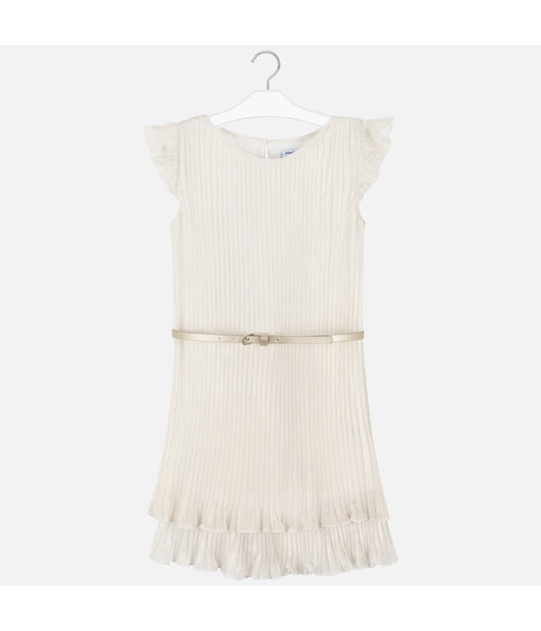 MAYORAL MAYORAL JUNIOR GIRLS PLEATED DRESS - CHAMPAGNE - SIZE 10 ONLY