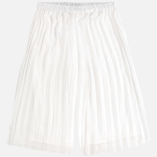 JUNIOR GIRLS PLEATED CHIFFON SKORT - NATURAL