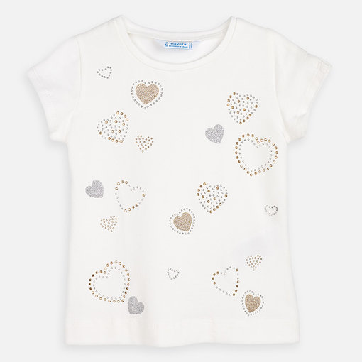 MAYORAL PRESCHOOL GIRLS HEARTS SHIRT - NATURAL - SIZE 4 ONLY