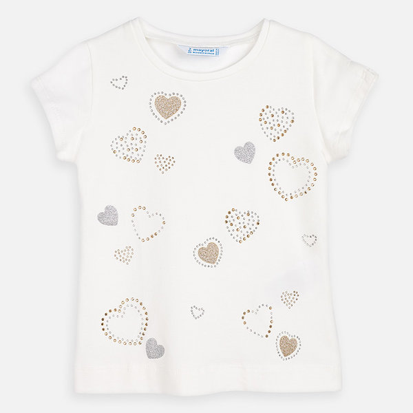 PRESCHOOL GIRLS HEARTS SHIRT - NATURAL - SIZE 4 ONLY