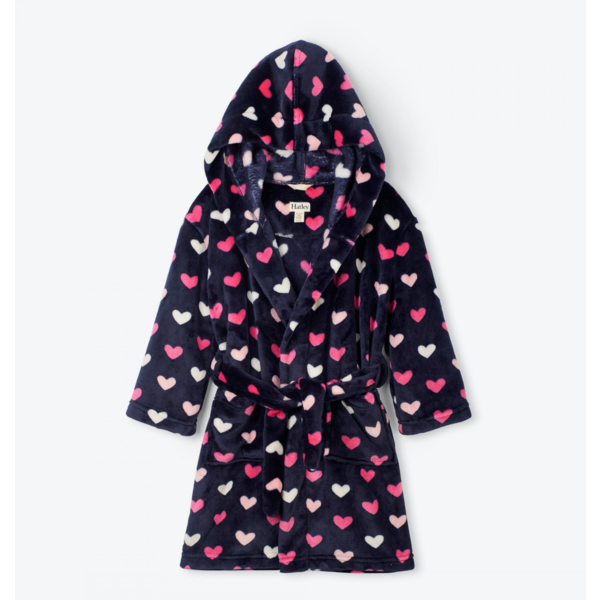 LOVELY HEARTS FLEECE ROBE - SIZE SMALL (2/3) ONLY