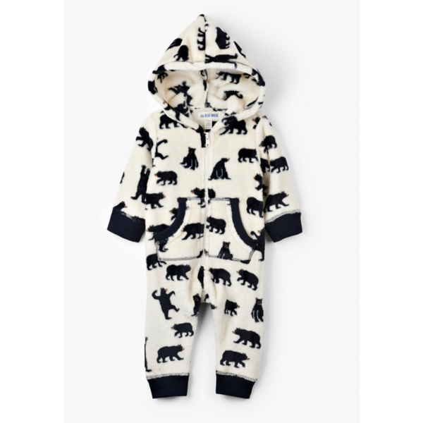 INFANT BLACK BEAR FUZZY FLEECE JUMPSUIT