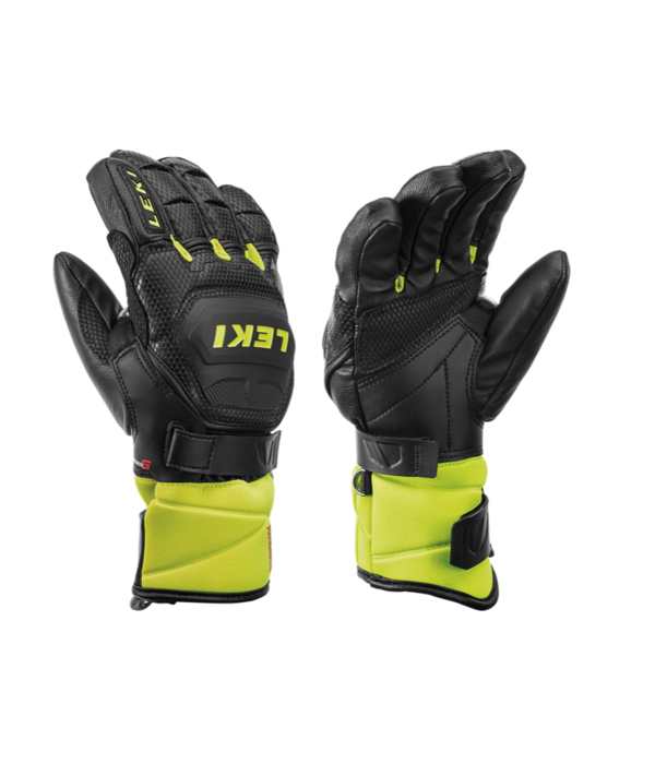 LEKI SKI POLES WC RACE FLEX JR GLOVE - BLACK/LEMON