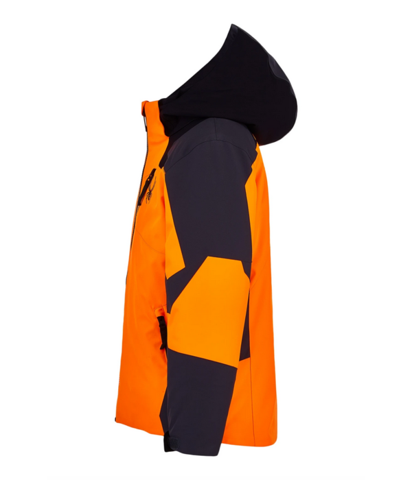 SPYDER JUNIOR BOYS LEADER SKI JACKET - ORANGE/EBONY