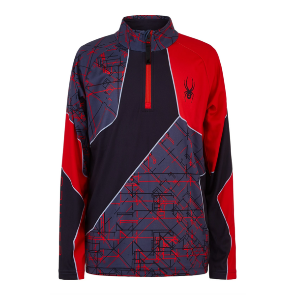 JUNIOR BOYS SECOND LAYER DIVIDE SKI TOP - NETWORK PRINT