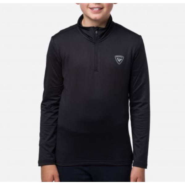 JUNIOR BOYS SECOND LAYER 1/2 ZIP WARM STRETCH - BLACK