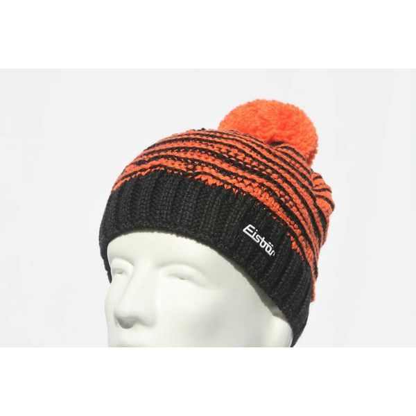 JOSCHI POMPOM HAT - BLACK/ORANGE - ADULT (8Y+)