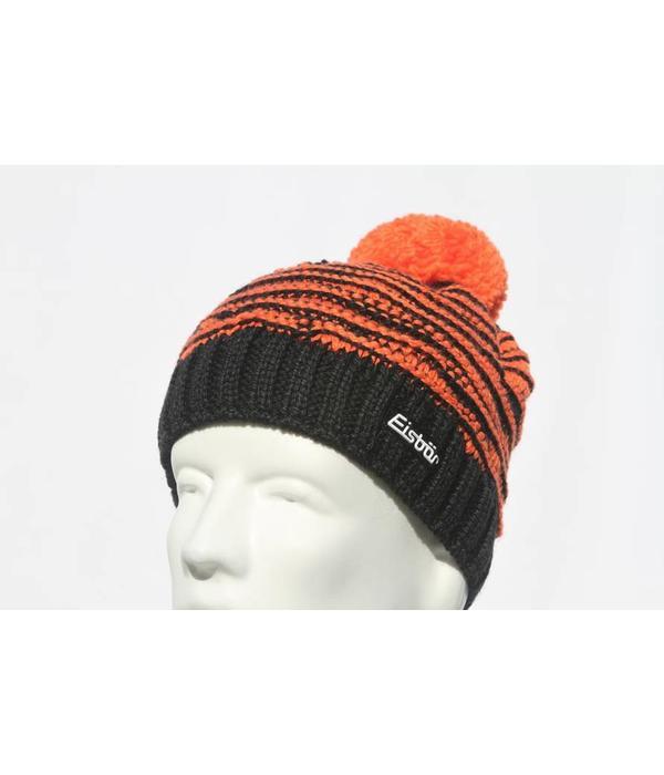 EISBAR WINTER HATS JOSCHI POMPOM HAT - BLACK/ORANGE - ADULT (8Y+)