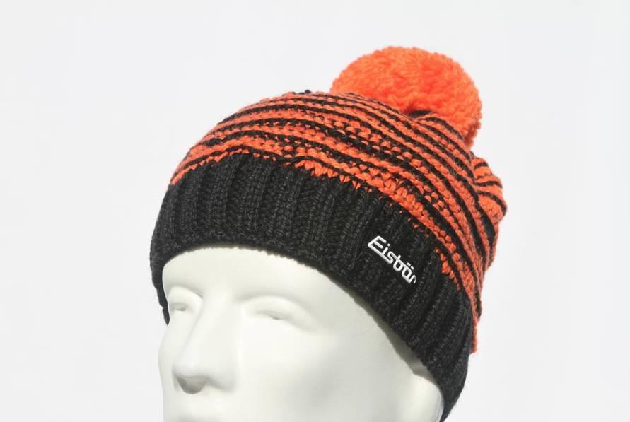 EISBAR WINTER HATS JOSCHI POMPOM HAT - BLACK ORANGE - ADULT (8Y+) ... 7349660139a