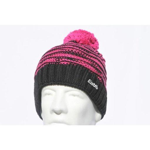 EISBAR WINTER HATS JOSCHI POMPOM HAT - BLACK/PINK - ADULT (8Y+)