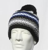 EISBAR WINTER HATS PASSION POMPOM HAT - BLACK/BLUE - ADULT (8Y+)