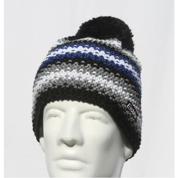 PASSION POMPOM HAT - BLACK/BLUE - ADULT (8Y+)