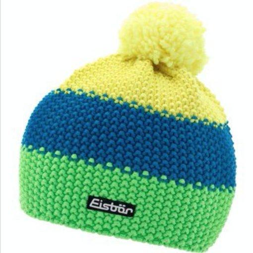 EISBAR WINTER HATS KID STAR NEON POM - YELLOW/BLUE/NEON GREEN - KIDS (2-7Y)