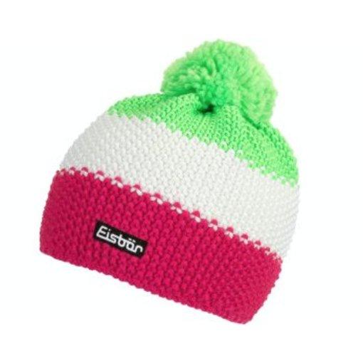 EISBAR WINTER HATS STAR NEON POMPON- NEON GREEN/WHITE/PINK - ADULT (8Y+)