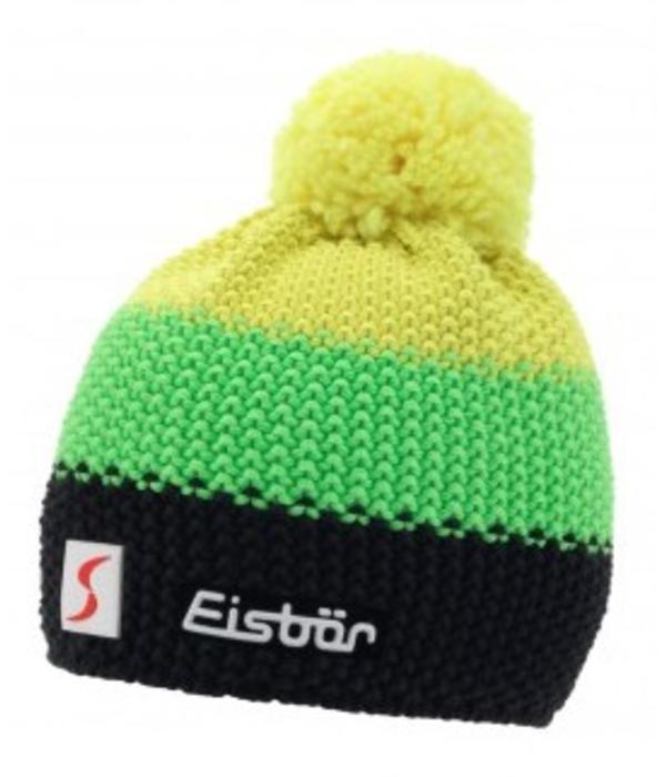EISBAR WINTER HATS STAR NEON POMPON- YELLOW/NEON GREEN/BLACK - ADULT (8Y+)