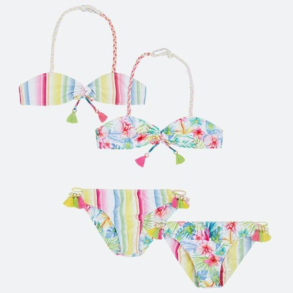 GIRLS PATTERNED REVERSIBLE BIKINI - MULTI