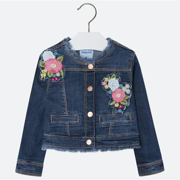 PRESCHOOL GIRLS EMBROIDERED JEAN JACKET - DARK DENIM