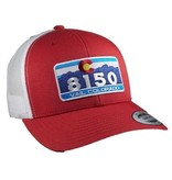 8150 RED/WHITE CURVED BRIM HAT