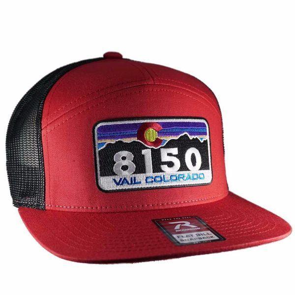 RED/BLACK TRUCKER 7 PANEL BRIM VAIL HAT
