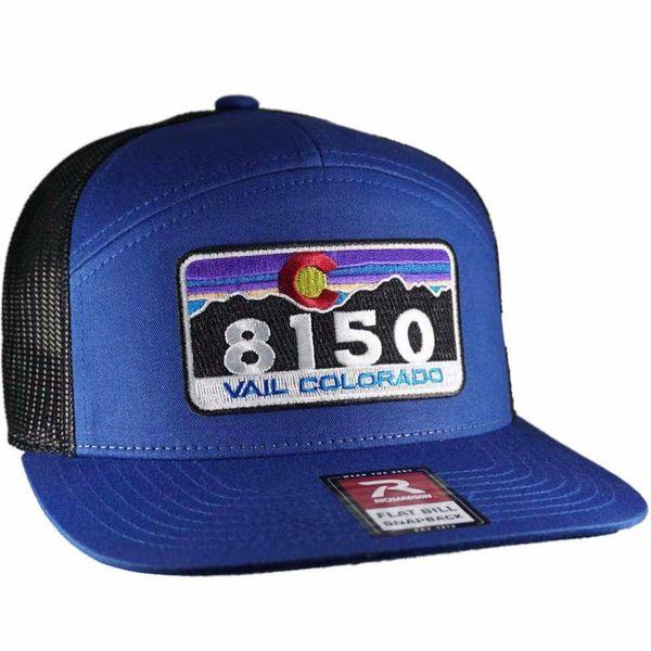 BLUE/BLACK TRUCKER 7 PANEL BRIM VAIL HAT