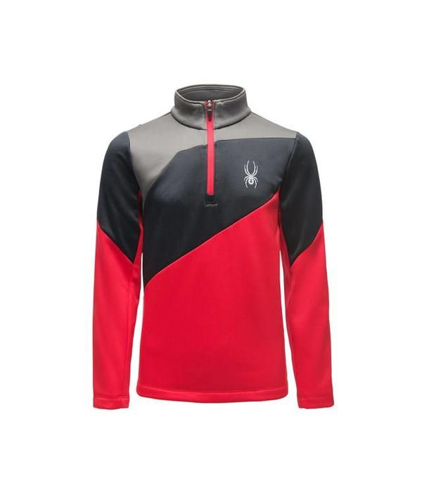 SPYDER BOY'S AMBUSH ZIP T-NECK - RED/BLACK/POLAR