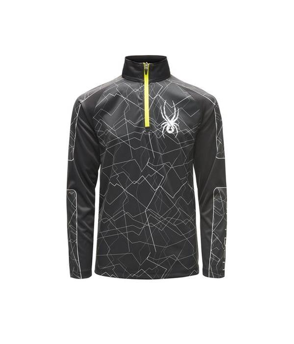 SPYDER BOY'S LIMITLESS CHALLENGER ZIP T-NECK - BLACK/ACID